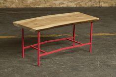 elm + powder-coated steel coffee table by zak rose