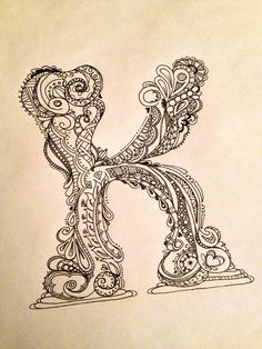 Zentangle Doodle letter K | by chitweed