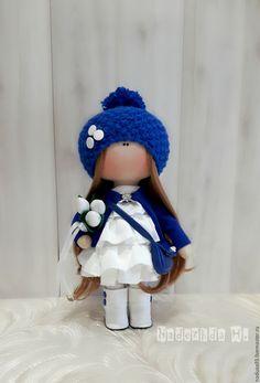Купить Малышка с тюльпанами, интерьерная кукла!!! - тёмно-синий, белый цвет, тюльпаны из ткани