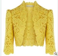 This is a bolero jacket. A bolero is a jacket (short coat). I like the bolero because it is very elegant and fancy but is a short jacket. Lace Bolero Jacket, Herve Leger Dress, Yellow Lace, Red Lace, Cotton Lace, Lace Chiffon, African Fashion, Blouse Designs, Designer Dresses