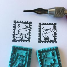 Handcarved rubber stamps by Natàlia Trias. Design from Atelier Naco