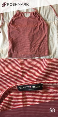 Brandy Melville striped halter top Halter top style shirt, never been worn. I bought it a while back but realized it didn't fit. Brandy Melville Tops Crop Tops
