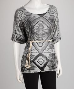 Take a look at this Gray Geometric Tie-Front Cape-Sleeve Top by Jazzy Martini on #zulily today!