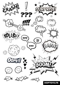 These comic effects will be added to enhance the characters emotions. Eg: The cl… These comic effects will be added to enhance the characters emotions. Eg: The close up of the shocked Kia Si will have the Exclamation marks pop up by the eyes. Doodle Drawings, Doodle Art, Letras Comic, Doodles, Sketch Notes, Bullet Journal Inspiration, Learn To Draw, Comic Books, Comic Art