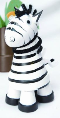Zebra from clay pots.  Website also shows alligator, giraffe, and elephant.  Cute safari theme for a kids party