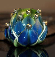 blue water lily bead  handmade glass bead
