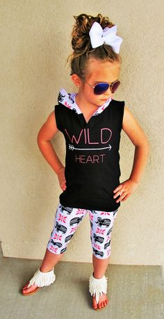 """Wild Heart"" Elephant Hoodie Tank Set #boutique-outfits #new #newborn-clothing #perfect-sets #spring-line"