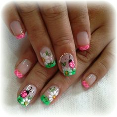 Pink lady bug Green Nail Designs, Flower Nail Designs, Flower Nail Art, Toe Nail Designs, Creative Nail Designs, Beautiful Nail Designs, Creative Nails, Cute Nail Art, Cute Nails