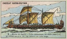 Athenian trireme, 4th Century BC. French educational card, French School late 19th/early 20th century.
