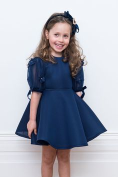 Transform your girl's day to evening style with our navy blue flower girl dress. This chic little number makes the perfect wedding guest ensemble. Eid Dresses, Lace Party Dresses, Lace Evening Dresses, Fashion Dresses, Little Girl Dresses, Girls Dresses, Flower Girl Dresses, Navy Blue Flowers, Blue Ball Gowns