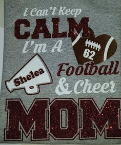 Personalized Glitter Football Cheer Mom Shirt I by Ravensnestts