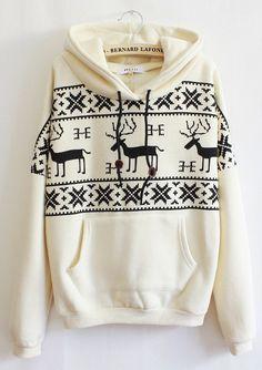Comfy Beige Deer Print Hoodie