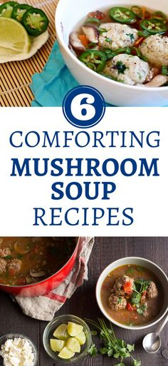 What's the most comforting winter recipe you can think of? Soup, of course! These 6 mushroom soup recipes are perfect for chilly nights. From mushroom matzo ball soup to thai chicken soup with mushrooms, they're flavorful and delicious. Easy Mushroom Soup, Mushroom Side Dishes, Best Mushroom Recipe, Mushroom Soup Recipes, New Chicken Recipes, Spicy Recipes, Pork Recipes, Drink Recipes, Mushroom Appetizers
