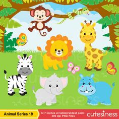 Zoo And Jungle Animals Clipart Print Candee cakepins.com | Baby ...