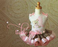 Teddy Bear Picnic Birthday Tutu Outfit Pink and por TicklePants