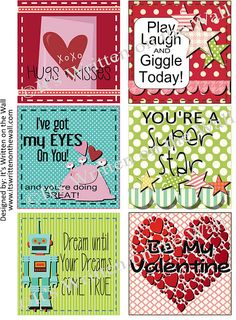 Super cute... free printable valentines day lunch box notes. USE THEM ALL YEAR ROUND!!!!