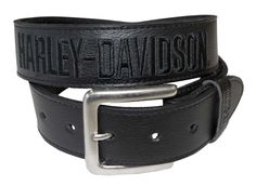 Harley-Davidson Men's Embroidered H-D Black Leather Belt HD95-15B