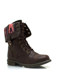 Southwestern Lace-Up Combat Boots $40.40  Can't decide between these or a plaid inside but i love this medium brown and fold over!!!