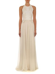 Elie Saab Halterneck lace and chiffon gown