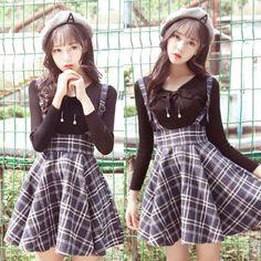 "Students condole belt tall waist grid straps skirt SE9730      Coupon code ""cutekawaii"" for 10% off"