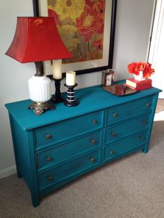 Dresser painted Peacock ....a pretty chalk paint by American Paint Company