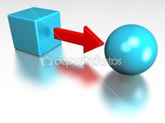 3D representation of a cube converted into a sphere, representing notions such as conversion, transformation, processing, change, formating and education / ID  5000928 / Copyright JNT Visual