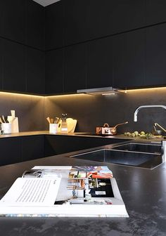 Black kitchen on Behance Black Kitchens, Ping Pong Table, Interior Design Inspiration, Your Space, Kitchen Decor, Furniture, Behance, Home Decor, Dreams
