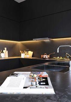 Black kitchen on Behance Black Kitchens, Ping Pong Table, Interior Design Inspiration, Your Space, Kitchen Decor, Furniture, Behance, Home Decor, Dreams