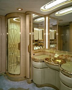 Sultan Brunei's luxury jet private jet Flying Palace: Sultan Brunei's Private Jet Luxury Jets, Luxury Private Jets, Luxury Yachts, Private Plane, Luxury Helicopter, Private Jet Interior, Beautiful Bathrooms, Luxury Living, Luxury Lifestyle