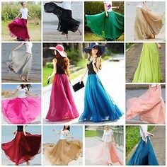 Women-Double-Layer-Chiffon-Pleated-Retro-Long-Maxi-Dress-Elastic-Waist-Skirt
