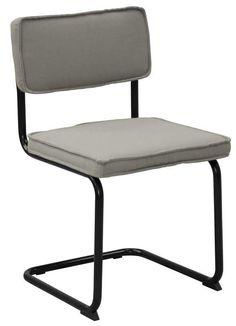 Sevilla+Spisebordsstol+-+Grå+-+Smart+retroinspireret+spisebordsstol+med+gråt+polstret+sæde+og+ryglæn+samt+et+flot+stel+i+sortlakeret+metal.+Sælges+i+pakker+med+4+stk.++Close-out+tilbudet+gælder+så+længe+lager+haves