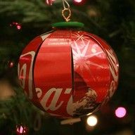 soda can ornaments  Great site these came from...lots and lots of ideas...even a Christmas tree made from soda cans