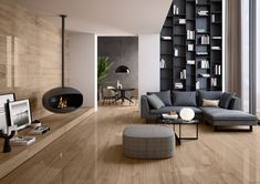 Large Format Wood-Effect Tiles: Giant collection - Ceramiche Refin Spa Suspended Fireplace, Olympia Tile, Composite Flooring, Wood Effect Tiles, Interior Architecture, Interior Design, Living Room Flooring, Design Projects, Furniture Design