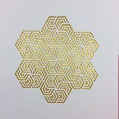 Hexagon Paper Cut Art Deco Screen by Kartegraphik on Etsy