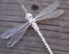 Suncatcher Dragonfly Small - Birthstones & 28 More Swarovski Colors -SILVER Toned Dazzlefly