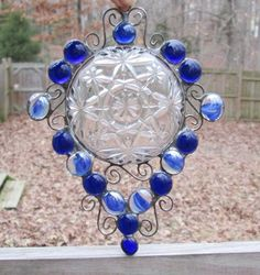Stained Glass Sun-catcher with Clear Vintage Plate, Blue Nuggets, and Wire Curly Cues