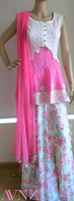 short kurta with lace jacket and floral lehenga by Avnni Kapur