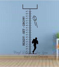 Wall Decal Football Growth Chart Apartment Decor Mural Sayings Nursery Words Removable Art