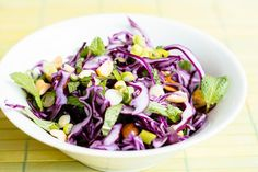 Use this on top of Korean Street tacos. This easy Korean salad can serve as a substitute for traditional kimchi. It offers low calories and the abundant health benefits of cabbage. Coleslaw Mix, Coleslaw Recipes, Easy Mexican Dishes, Korean Side Dishes, Main Dishes, Easy Korean Recipes, Healthy Recipes, Yummy Recipes, Salads