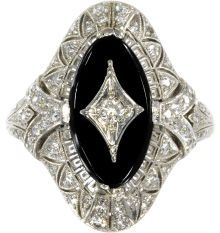 Art Deco Diamond, Black Onyx, Platinum Ring, Peacock  The ring is highlighted by a full-cut diamond weighing approximately 0.05 carat, set i...