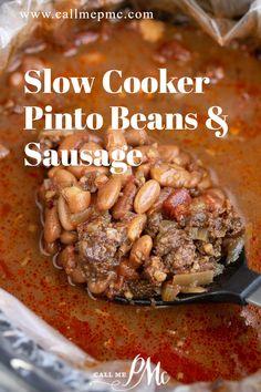 Best Slow Cooker, Crock Pot Slow Cooker, Crock Pot Cooking, Slow Cooker Recipes, Crockpot Recipes, Cooking Recipes, Side Recipes, Bean Recipes, Sausage Recipes