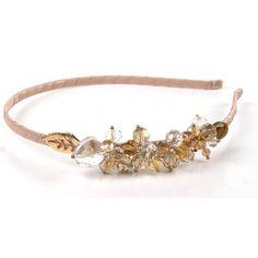 Gold & Pink Bead Leaf Headband