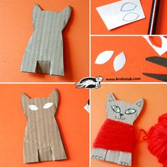 cat crafts for kids easy / cat crafts _ cat crafts for kids _ cat crafts preschool _ cat crafts for toddlers _ cat crafts for adults _ cat crafts diy _ cat crafts for kids easy _ cat crafts for kids art projects Cardboard Crafts Kids, Cardboard Art, Paper Crafts, Cardboard Boxes, Animal Crafts For Kids, Halloween Crafts For Kids, Art For Kids, Projects For Kids, Art Projects