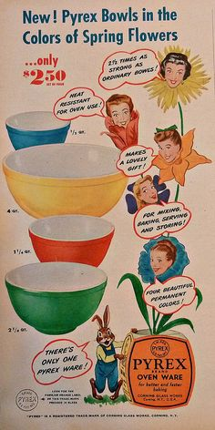 My Paisley World: Collections: Sturdy Vintage Pyrex Vintage Pyrex, Vintage Kitchenware, Vintage Dishes, Vintage Glassware, Vintage Bowls, Vintage China, Vintage Green, Retro Ads, Vintage Advertisements