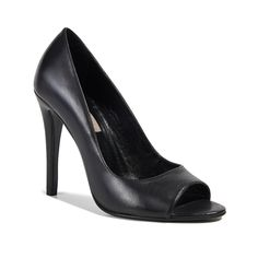 Draw attention to a fresh pedicure with the chic peep toe and understated matte texture of this classic leather pump. Peep Toe Pumps, Stiletto Heels, Peeps, Black Leather, Shoes Women, Products, Fashion, Wide Fit Women's Shoes, Moda