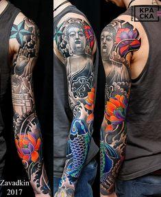 Tattoo Konstantin Zavadkin - tattoo's photo In the style Oriental, Male, Buddhistic, Fi Samurai Tattoo Sleeve, Tiger Tattoo Sleeve, Full Sleeve Tattoo Design, Arm Sleeve Tattoos, Back Tattoo, Tattoo Arm, Rose Tattoos For Men, Full Arm Tattoos, Leg Tattoos