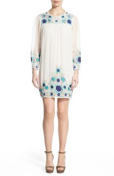 Rebecca Minkoff 'Truman' Embroidered Silk Shift Dress available at #Nordstrom