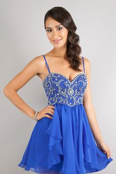 Spaghetti Straps Blue Homecoming Dress/ Cocktail Dress With ...