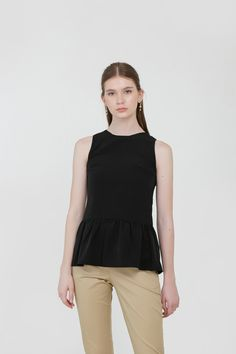 Meghan Ruffle Blouse in Black Modern Minimalist, Affordable Fashion, Ready To Wear, Ruffle Blouse, Spring, How To Wear, Clothes, Black, Tops