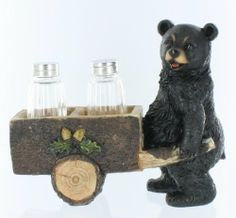 """Black Bear Wagon / Cart Salt & Pepper Shaker Set - Decorative Grizzly Cub Cabin Decor by DWK. $16.99. Glass Shakers Included. Beautiful Detail. 7"""" Tall x 8"""" Long. Black Bear pushing Cart Salt and Pepper Shaker Set from DWK Home Decor.  Durable hand-painted poly resin construction.  Hand crafted to bring a special touch to your home.  Two Glass shakers included."""